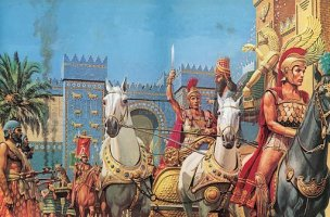 Alexander the Great riding in triumph into Babylon.jpg